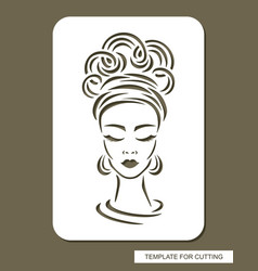 Stencil with face a beautiful girl vector