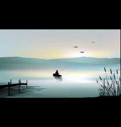 sunrise on the lake and a fisherman boat vector image