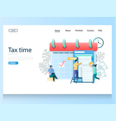Tax time website landing page design vector