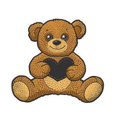 Teddy bear toy sketch vector