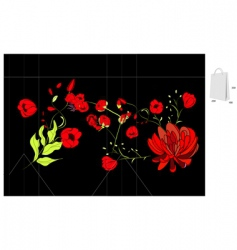 template for bag with colorful flowers vector image vector image