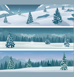Three snowy landscapes banner with wild nature vector