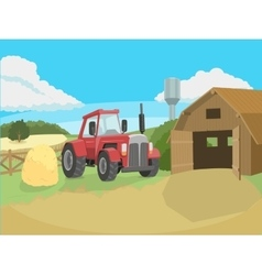 Tractor on the farm vector image