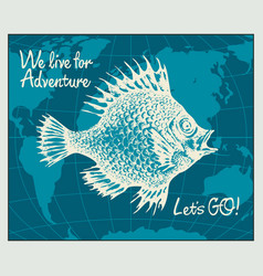 Travel banner with big fish and world map vector