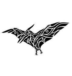 Tribal tattoo art with black flying pterodactyl vector