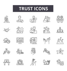 Trust line icons for web and mobile design vector