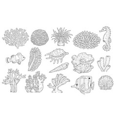 underwater plants corals fish shell set vector image