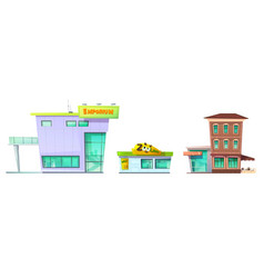 urban retro modern building cartoon set vector image