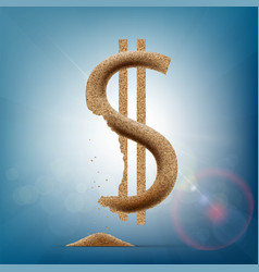 Us dollar is made up of sand vector