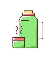 Vacuum flask rgb color icon vector