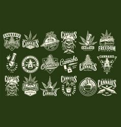 Vintage cannabis and marijuana prints set vector