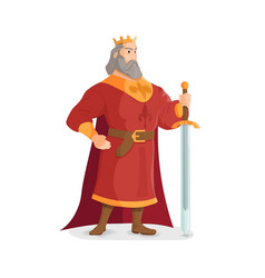 Warrior king a strong and tall king with a sword vector