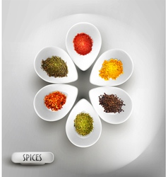 white bowl on the table the filling of spices vector image vector image