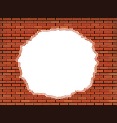 white hole in broken red brick wall vector image