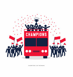 Winner cup soccer champions on open top buses vector