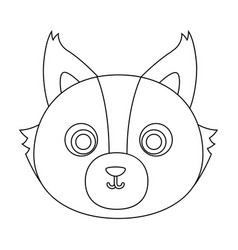 Wolf muzzle icon in outline style isolated on vector