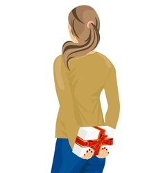young woman hiding a gift behind her back vector image