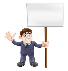 businessman holding sign vector image vector image