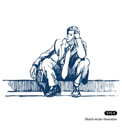 Businessman sitting on step vector image vector image