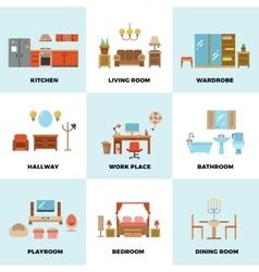 Living room bedroom kitchen kids bathroom vector image