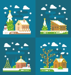 Christmas light decoration flat design vector image vector image