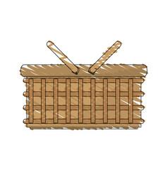 drawing wicker basket picnic image vector image