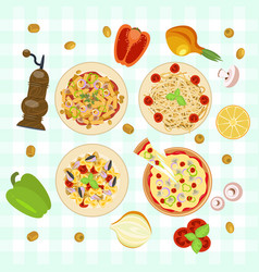 italian food dishes vector image vector image