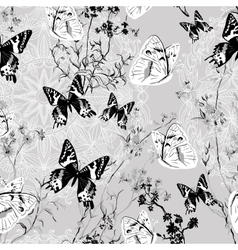 Seamless floral background with butterflies vector image vector image