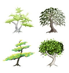 An Isometric Set of Green Trees and Plants vector image vector image