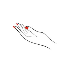 female hand with red nails manicure fashion vector image vector image