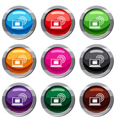 laptop and and wireless set 9 collection vector image vector image