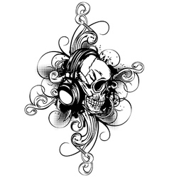 skull in headphones and patterns vector image vector image