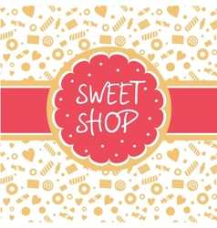 Sweet shop logo with the image of cake vector image vector image