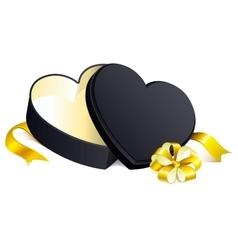 Black gift open box heart shape vector image