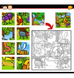 cartoon insects jigsaw puzzle game vector image vector image