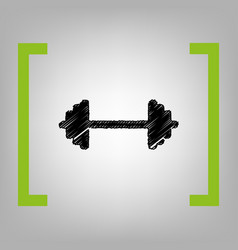 dumbbell weights sign black scribble icon vector image
