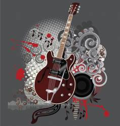 grunge guitar vector image vector image