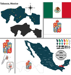 Map of Tabasco vector image vector image