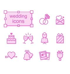 Thin line icons set wedding vector image vector image