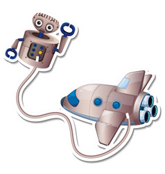 A sticker template with plane and robot isolated vector