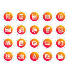 Accounting icons set of calculation check vector