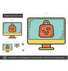 Airport scanner line icon vector