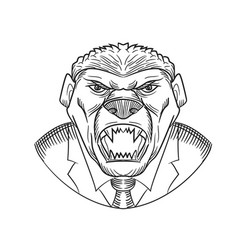 angry honey badger wearing coat and tie drawing vector image