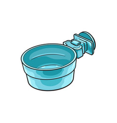 Attachable plastic pet cat dog bowl for kennels vector