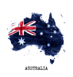 australia flag watercolor painting design and vector image