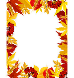 Autumn leaf foliage blank fall frame poster vector