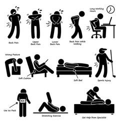 Back pain backache pictograph a set human vector