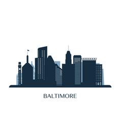baltimore skyline monochrome silhouette vector image