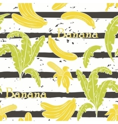 Bananas on grey stripes vector