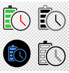 battery charge time eps icon with contour vector image